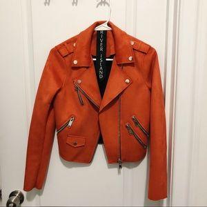 River Island Orange Suede Moto Jacket
